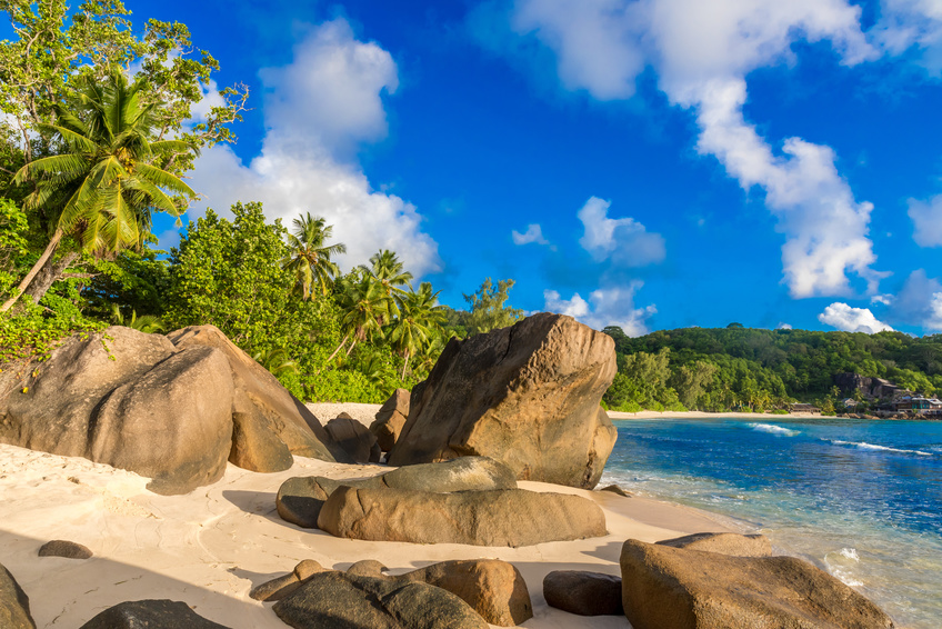 Anse Takamaka - Paradise beach on tropical island Mahé in Seychelles